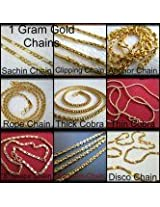 Jewellery Addict One Gram Gold Set of 9 designer chains for all Mens & womens