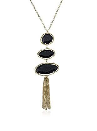 Riccova Arctic Mist Faceted Blue Glass Triple Drop Pendant Necklace with CZs & a Chain Tassel