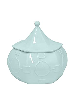 Three Hands Ceramic Jar with Lid, Turquoise