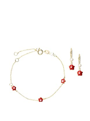 Frida Girl Gold and Red Bracelet and Earrings Set