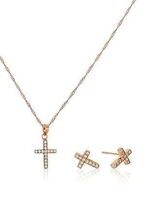 Córdoba Joyeros Conjunto de cadena, colgante y pendientes Cruz Oro Rosa Zirconium