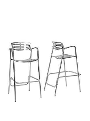 Baxton Studio Set of 2 Ethan Bar Stools, Silver