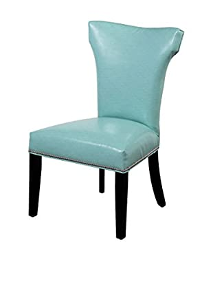 Bassett Mirror Company Nelson Shaped Nailhead Parsons Chair, Turquoise