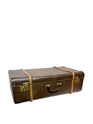 Vintage Leather Traveling Trunk III, Dark Brown