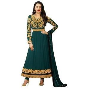 Karishma Kapoor Dark Green Georgette Kalidar Anarkali Salwar Kameez Suit
