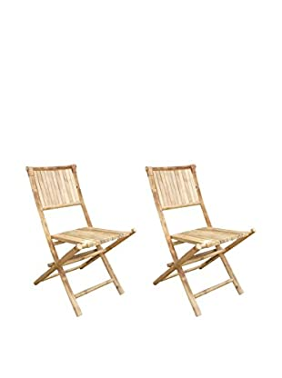 ZEW, Inc. Set of 2 Bamboo Foldable Chairs, Natural