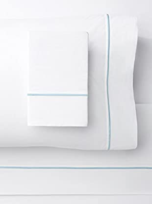 Melange Home 300 Thread Count Egyptian Cotton Percale Single Stripe Embrodiered Sheet Set