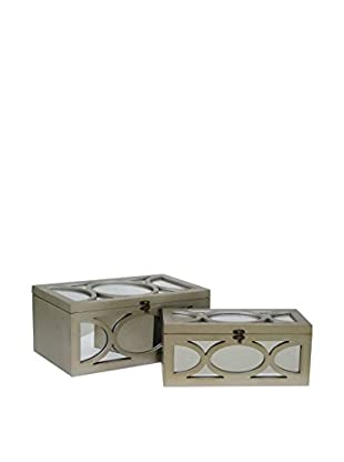 Three Hands Set of 2 Mirrored Boxes