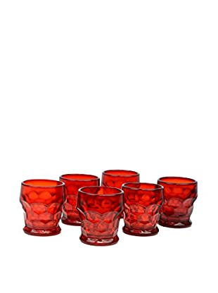 Set F 6 Red Glass Cups, Red