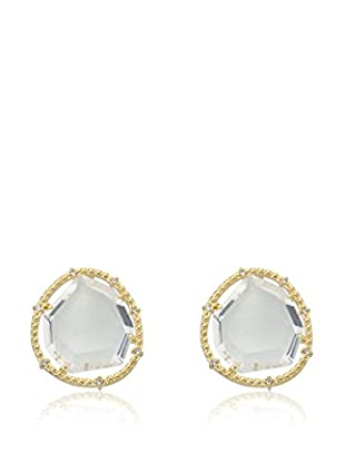 Riccova Sliced Glass Earrings with CZs