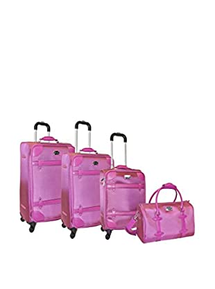 Adrienne Vittadini High Density 1680 Denier 4-Pc Luggage Set, Raspberry