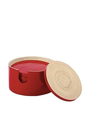 Core Bamboo Glossy Finish 7-Piece Round Bamboo Coaster Set (Crimson)