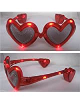 Led Light Up Heart Hearts Glasses / Shades Red