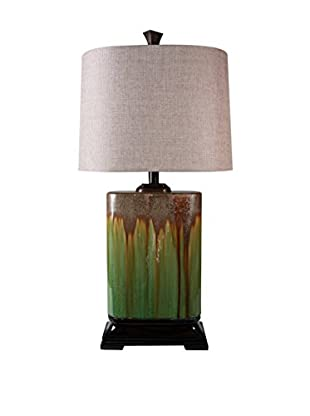 StyleCraft Alton Ceramic 1-Light Table Lamp, Brown/Green/Natural