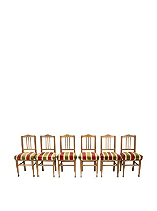 Set of 6 French Dining Chairs, Brown/Green/Red/Gold