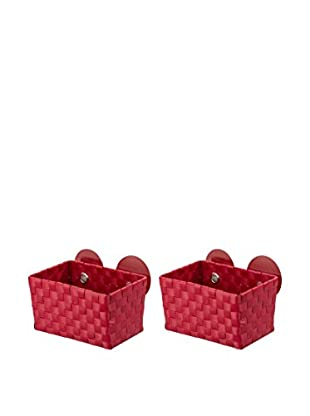 Wenko Aufbewahrungskorb 2er Set rot 20,5 x 14,5 x 14