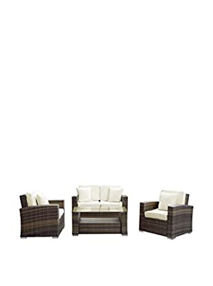 Modway Carmel 4-Piece Outdoor Patio Sofa Set, Brown/White