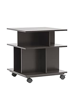Baxton Studio Warren Wheeled Storage Shelf, Dark Brown