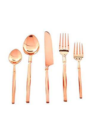 Cunill Beveled Handle Five-Piece Place Setting, Copper