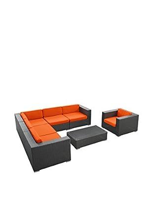 Modway Corona 7-Piece Outdoor Patio Sectional Set (Espresso/Orange)