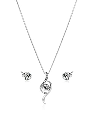 Diamond Style Schmuckset Crystal Bow Pendant & Solo Ear Studs