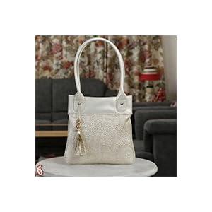 Beige Jute and Leatherite Tassel Tote hand bag