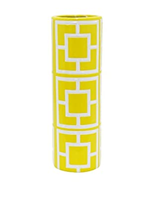 Three Hands Medium Geometric Ceramic Vase, Yellow/White