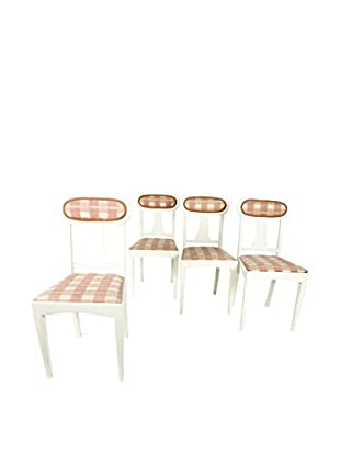 Set of 4 Gustavian Style Dining Chairs, White/Salmon