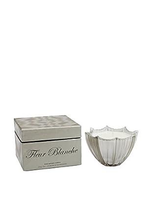 D.L. & Co. Ribbed Glass 8-Oz. Scallop Candle, Fleur Blanche