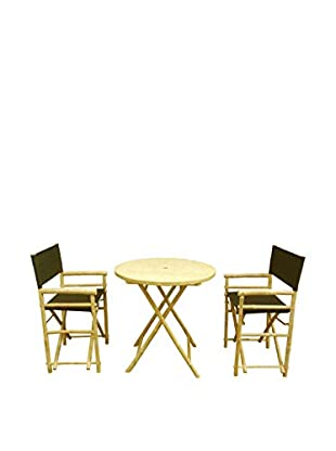 ZEW, Inc. Round Table & Director Chair Set, Black