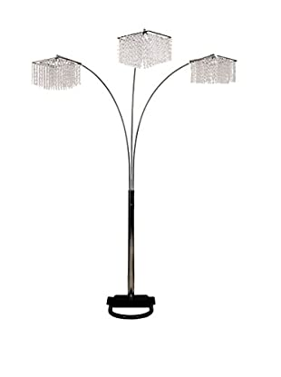 ORE International 3-Light Crystal Inspirational Arch Floor Lamp, Silver