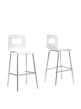 Baxton Studio Set of 2 Greta Modern Bar Stools, White