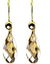 Briolette Golden Shadow Swarovski Crystal Stone Dangle Earring