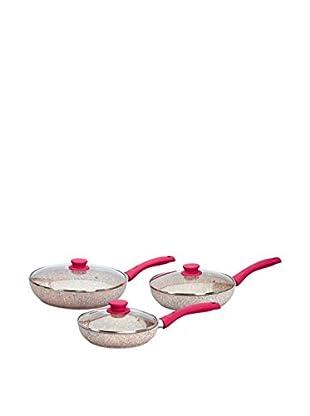 Stonerose Aluminiumpfannen-Set Stonerose 3tlg. mit Glasdeckel fuchsia