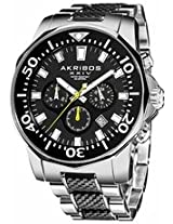 Akribos Conqueror Chronograph Black Silicone And Stainless Steel Mens Watch Ak561Ttb
