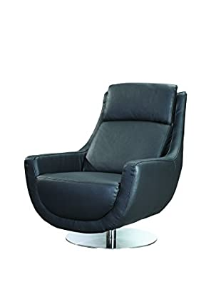 Furniture Contempo Germany Swivel Chair, Black/Stainless Steel