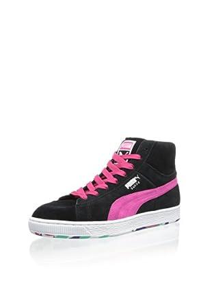 PUMA Men's Suede Mid Classic Rubbermix Mid Sneaker (Black)
