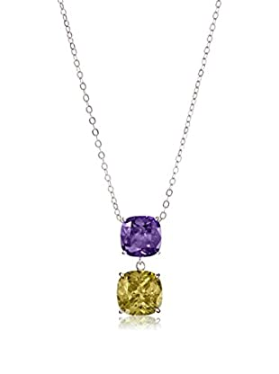 CZ by Kenneth Jay Lane Purple Double Cushion CZ Necklace