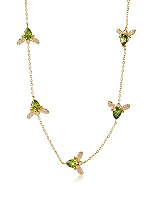 CZ by Kenneth Jay Lane Green Bumblebee Stations Necklace