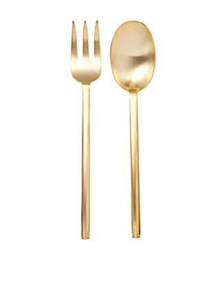 Calvin Klein Collection Ellipse Serving Fork & Spoon, Gold