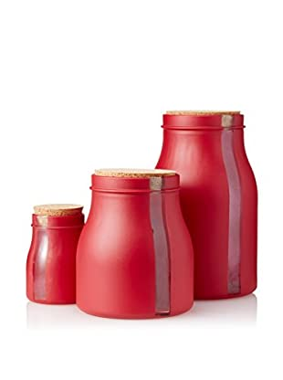 French Home Set of 3 Vertical Window Containers with Stoppers, Red