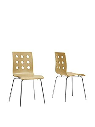 Baxton Studio Set of 2 Celeste Birch Dining Chairs, Natural