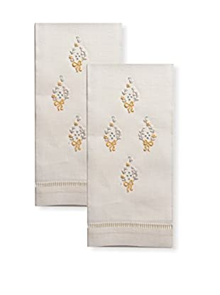 Henry Handwork Set of 2 Flower Drops Embroidered Hand Towels, Ivory