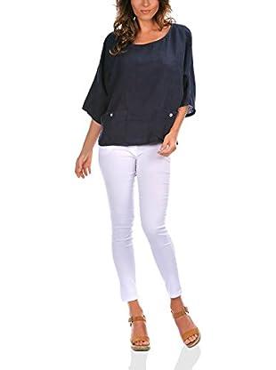100% Lino Bleu Marine Bluse Danielle