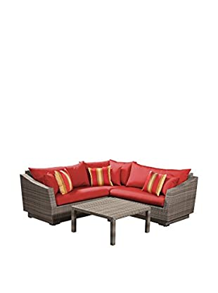 RST Brands Cannes 4-Piece Corner Sectional & Table, Red