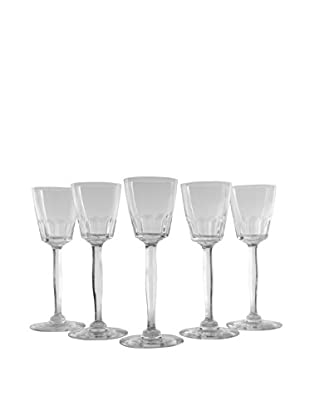 Set of 5 French Tall Stem Cordial Glasses, Clear