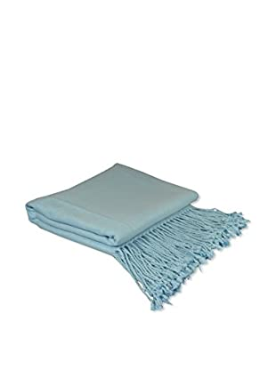 PÜR Cashmere Rayon From Bamboo Velvet Throw, Baby Blue