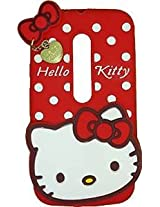 AE Cute Hello Kitty Silicone With Pendant Back Case Cover For MOTOROLA MOTO G3 RED