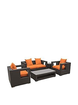 Modway Lunar 5-Piece Outdoor Patio Sofa Set (Espresso/Orange)