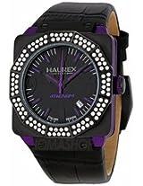 Haurex Italy Athenum Black Dial Black Leather Strap Mens Watch 8E372Dnp